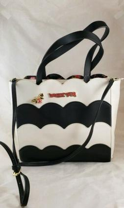Betsey Johnson Purse Handbag Large Black White Striped Bow A