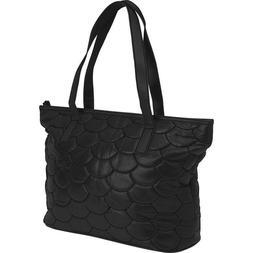 Quilted Black Genuine Leather Purse Shoulder Strap Handbag B