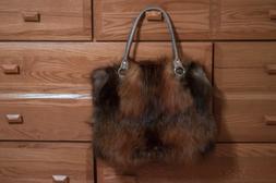 Real Fox Fur and Leather Purse Handbag Top handle bag