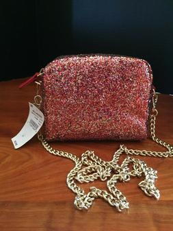 Design Lab Red and Gold Glitter Handbag Purse Shoulder Bag w