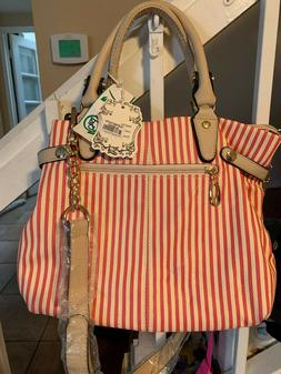 Alyssa red & white striped purse handbag ys-61643 FU/TN. SUP