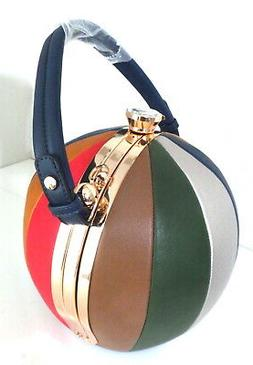 Alyssa Red Blue Brown ROUND PURSE Ball Framed Shape Satchel