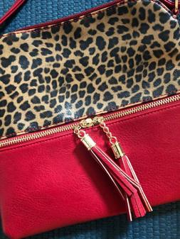 red faux leather animal print crossbody purse