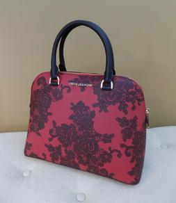 Michael Kors Red Lace Dome Handbag Cindy Scarlet Crossbody P