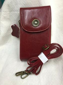 Bveyzi Red Leather purse with crossbody strap. 8 by 4 by 2in