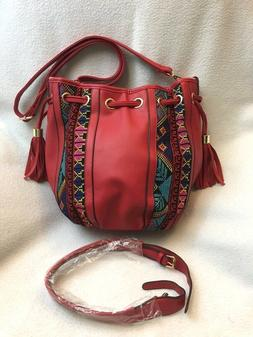 Scarleton Red Southwest Stripe Drawstring Purse Handbag Conv
