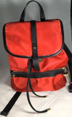 BOSTANTEN Red Water Resistant Nylon and Leather Trim Backpac