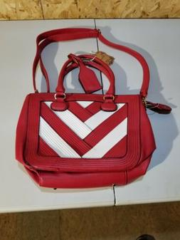 RED white VEGAN HANDBAG SATCHEL MESSENGER PURSE,& LONG STRAP