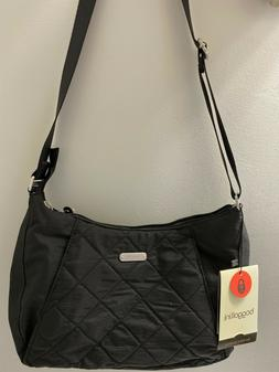 BAGGALLINI RFID Quilted Slim Black Crossbody Hobo Bag with P