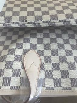 Daisy Rose Cream Checkered Damier Style Tote & Wristlet Pouc