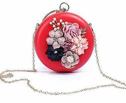 Round Floral Clutch for Women Evening Detachable Chain Clutc