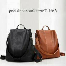 Rucksack Women Leather Pompom Backpack Handbag Anti-theft La