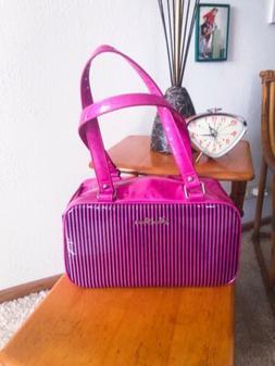 SALE Retro Purse Pink Black Stripe Sparkle Handbag Rockabill