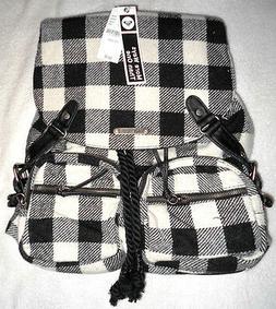 ROXY SALUTE PLAID BACKPACK Purse Handbag Bag Checkered Black
