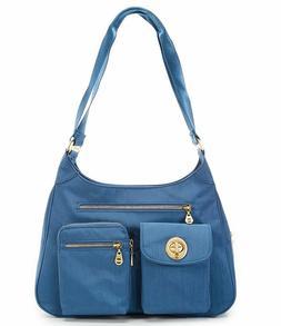 San Marino Slate Blue Nylon Satchel Baggallini New w Tags Sh