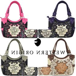 Scripture Bible Verse Western Purses Country Handbags Women
