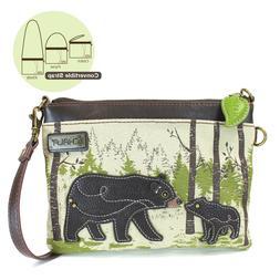 Chala Handbags-Small Crossbody Purse with Baby Bear and Moth