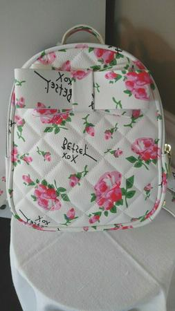 Betsy Johnson Small Logo Backpack Purse Bag Ivory with Roses