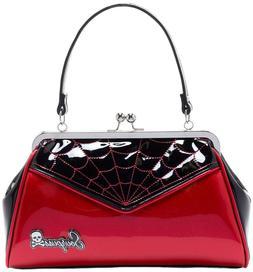 Sourpuss Spiderweb Backseat Baby Purse Black And Red Glitter