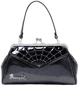 Sourpuss Spiderweb Backseat Baby Purse Black And Silver Glit