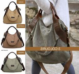 STOCK CLEARANCE NEW Canvas and Leather Tote Shoulder Crossbo