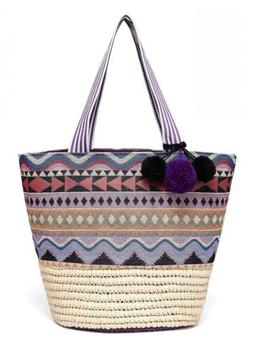 Daisy Rose Straw Beach  Women Tote Bag With Pom Poms & Print