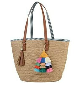 Straw Shoulder Tote Bag for Women Summer Beach Woven Purse H