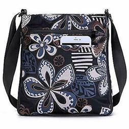 STUOYE Multi-Pocket Nylon Crossbody Purse Bag for Women Blac