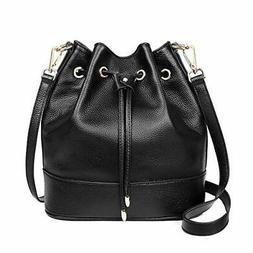 Suede Drawstring Bucket Bag for Women Large Crossbody Purse