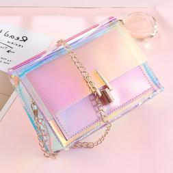 Transparent Handbag Colorful Chain Bag Rainbow Laser Purses