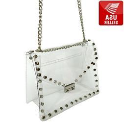 Transparent PVC Purse Clear Handbag Shoulder Bag Metal Decor