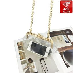 Transparent PVC Purse Gold Color Clasp Shoulder Bag Clear Vi