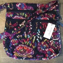 Vera Bradley Triple Zip Hipster Midnight Wildflowers Crossbo