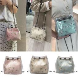 US Fashion Women Transparent Handbag Chain Floral Shoulder B