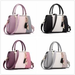 US Lady Stitching Women Leather Designer Purses Handbags Sho