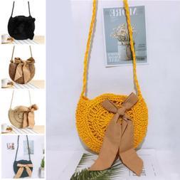 US Women Hand-Woven Rattan Bag Straw Purse Crossbody Travel