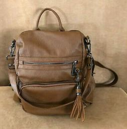 Uto Women Backpack Purse Washed Leather Convertible Ladies R