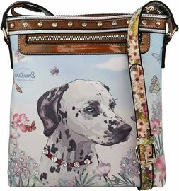 B BRENTANO Vegan Cute Animal Graphic Crossbody Bag Purse with Rhinestones