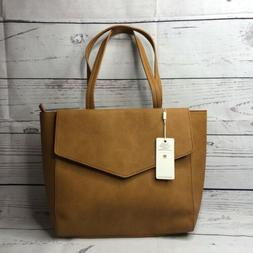 Urban Expressions Vegan Leather Tote Purse Brown NEW Large