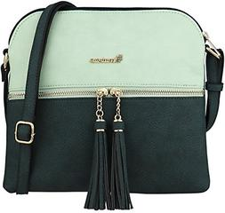 B BRENTANO Vegan Lightweight Crossbody Bag with Tassel Accen