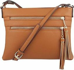 B BRENTANO Vegan Multi-Zipper Crossbody Handbag Purse with T