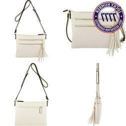 B Brentano Vegan Multi-Zipper Crossbody Handbag Purse With T