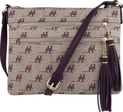 B BRENTANO Vegan Multi-Zipper Crossbody Handbag Purse w/Tass