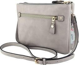 B BRENTANO Vegan Multi-Zipper Double Pocket Crossbody Handba