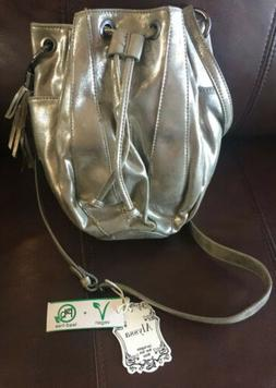 Alyssa Vegan Purse Hand Bag Cross Body Metallic Gold Taupe C