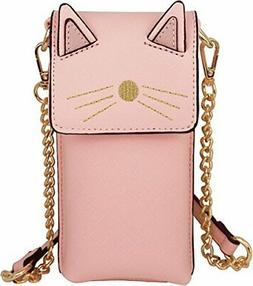 B BRENTANO Vegan Saffiano Leather Cat Cellphone Crossbody Pu