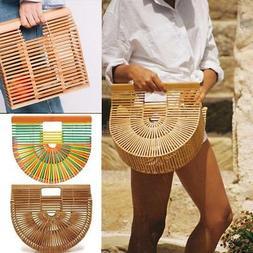Vintgage Bamboo Handbag Handmade Tote Purse Straw Beach Bag