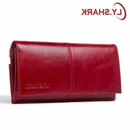 Wallet Women 2019 Genuine Leather Purse for Credit Card Red