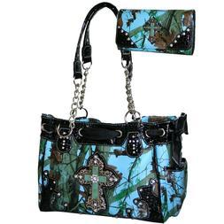 Western Camouflage Cross Rhinestone Purse Handbag Wallet Set