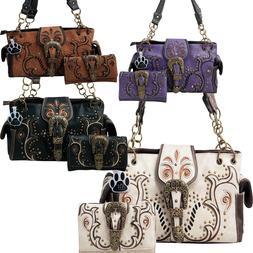 Western Handbag Floral Bronze Buckle Concealed Carry Women P